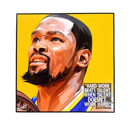 Pop Art Famous Basketball Player Inspiration Quotes [ Kevin Durant ] Framed Glossy Acrylic Canvas Fan Art Poster Prints Artwork Modern Wall Decor, 10'x10'
