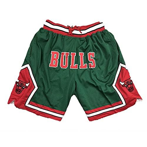 Hombre Baloncesto Pantalón Corto,Chicago Bulls Shorts Deportivos Retro,Aficionados al Baloncesto Swingman Entrenamiento Informal Ropa,Negro