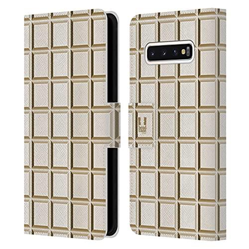 Head Case Designs Tableta Blanca Achocolatado Carcasa de Cuero Tipo Libro Compatible con Samsung Galaxy S10