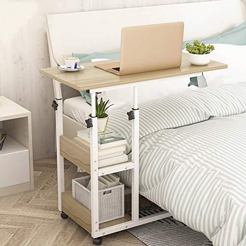 Novhome Beistelltisch mit Rollen Sofatisch Höhenverstellbar Kaffeetisch Wohnzimmertisch Metallgestell Mobiler Schreibtisch mit Lagerregalen für Laptop Zuhause