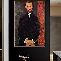 ファッションキャンバス絵画 アメデオモディリアーニ古い有名なマスターアーティストポールアレクサンダー絵画ポスタープリントリビングルームの壁の装飾ポップウォールアート 60*90cm