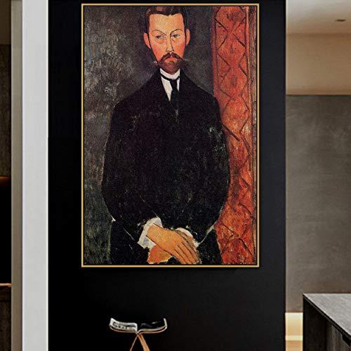 Flduod Amedeo Modigliani Oude Beroemde Meester Kunstenaar Paul Alexander Canvas Schilderij Poster Print voor Woonkamer Muur Decor POP Wall Art60x90cm