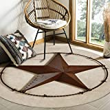 Plush Round Throw Rug Cozy Rug Floor Mat, Western Country Texas Star Area Rugs Home Office Decorator, Super Soft Stain-Proof Carpets Kids Play Rug, 3 Feet
