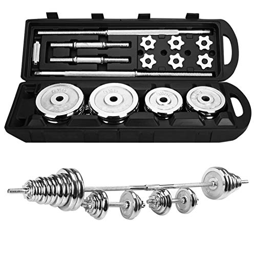 Adjustable Fitness Cast Iron Dumbbell Set,Adjustable Weight to 66-110Lbs for Men and Women Lifting Gym Work Out Training with Connecting Steel Rod Used as Barbells (110lb/50kg)