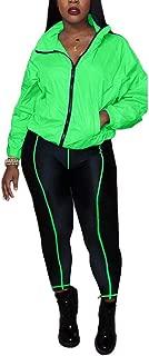 Women Two Piece Outfits Zipper Windbreaker and Striped Print Leggings Suits Jogging Clubwear
