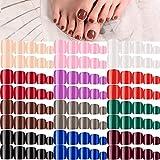 press on toenails - 288 Pieces 12 Sets Short False Toe Nails Short Square Artificial Nail Tips Press on Glossy Toe Nails Solid Color Full Cover Square Fake Nails for Nail Art DIY Manicure (Mixed-color Pattern)