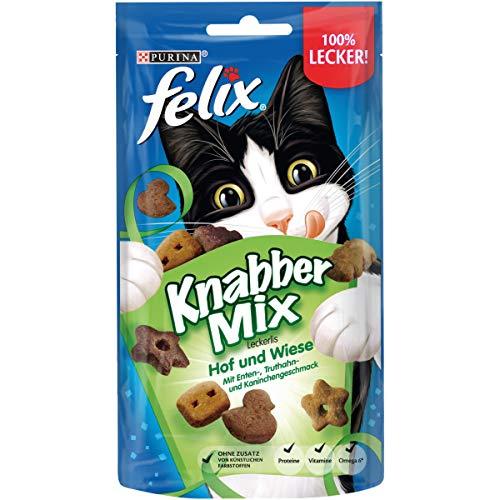 FELIX KnabberMix Hof & Wiese Katzensnack, Knusper-Leckerlie mit drei Geschmacksrichtungen, 8er Pack (8 x 60g)