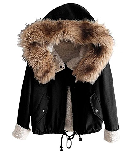 Minetom Damen Warm Verdicken Winterjacke Mantel Mit Plüsch Kapuze Winddicht Tasche Tunnelzug Kurze Parka Gezeichnet Jacke Outerwear Schwarz DE 42