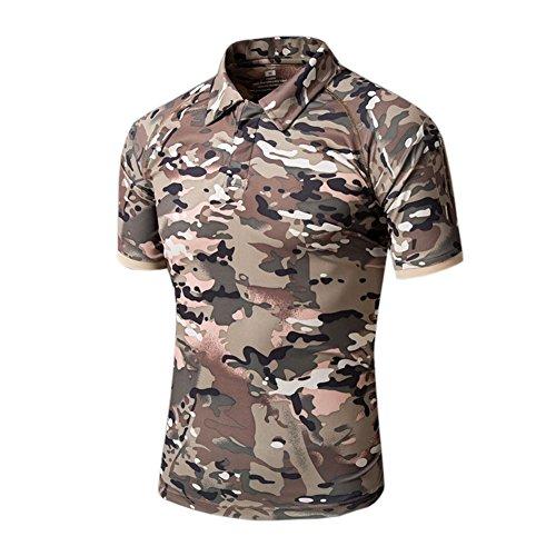 (ランバオシー)Lanbaosi 半袖 ポロシャツ メンズ アウトドア スポーツ T-シャツ タクティカル 装備 折り襟 トレーニングウェア 速乾 通気 迷彩柄 S-XXL S CP