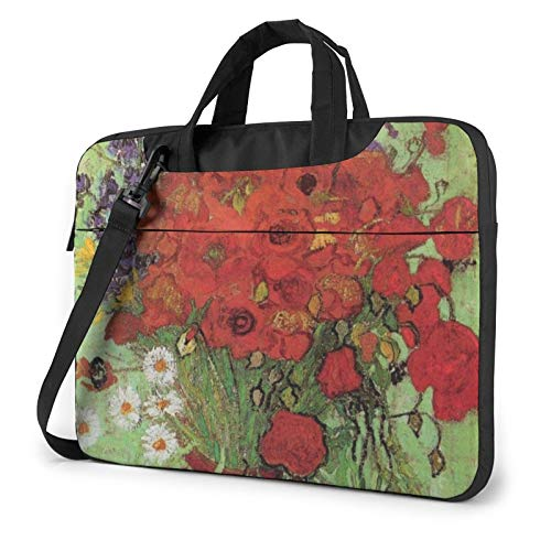 Laptop Bag Red Poppies and Daisies Laptop Shoulder Bag Messenger Briefcase Laptop Case Sleeve for 13 Inch