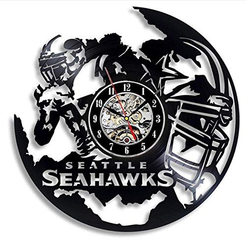Ioxlks Wanduhr Aus Vinyl Seattle Schallplatte Wanduhr Modernes Design American Football Team 3D Aufkleber Wanduhren Wohnkultur Geschenke für Fans 30 cm LO0836