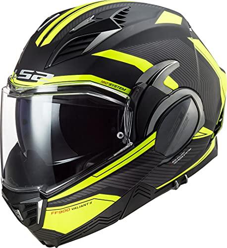 LS2, casco moto modulare VALIANT II revo nero giallo, M