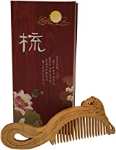 Earofcorn Exquisite Multi Style Thuja Wood Comb Natural Carving Anti-static Massage Wood Comb Set Pair- Vintage Chinese Artwork (Style1)