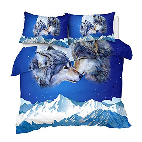 Wolf Bedding Set Duvet Cover Set 3-Piece Set of Colorful Bedding Sets, Duvet Cover with Zipper Closure, 1 Duvet Cover with 2 Pillowcases,UK Single