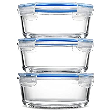 Glass Meal Prep Food Storage Containers - (3-Pack 30 Oz.) Portion Control Lunch Containers, with BPA Free Airtight Snap Locking Lids, Prep, Freeze, Reheat, Bake, Oven Safe Containers for Home and Work