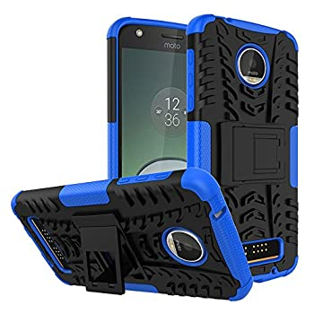 Moto Z Play Droid Case,Yiakeng Shockproof Impact Protection Tough Rugged Dual Layer Protective Case Cover with Kickstand for Motorola Moto Z Play Droid  Blue