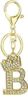 Axmerdal Alphabet Keychain Crown Rhinestone Letter A-Z Key Chain Initial Keyring