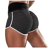 Taurner Fruncido Butt Lifting Pantalones Cortos de Yoga de Cintura Alta con Elásticos Color Sólido Leggings Deporte para Mujer Mallas de Deporte para Correr
