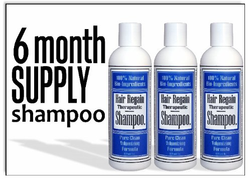 Hair Regain Hair Loss Shampoo - No Sulfates - 3 bottles, 6 Month Supply