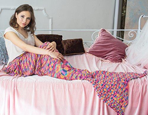 Mermaid Tail Coperta con strisce arcobaleno, il sofà molle getta la coperta per adulti e bambini (Rainbow, 74.8x35.4inches)