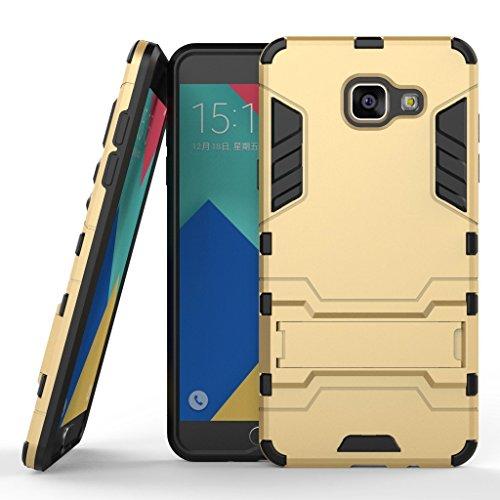 Funda para Samsung Galaxy A5 2016 (5,2 Pulgadas) 2 en 1 Híbrida Rugged Armor Case Choque Absorción Protección Dual Layer Bumper Carcasa con Pata de Cabra (Dorado)