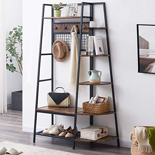 OIAHOMY Entryway Coat Rack with Storage Shoes BenchIndustrial Hall Tree with 5 Tier Storage Shelf Freestanding Clothes Rack with Hooks Multifunctional Entryway Organizer -Rustic Brown