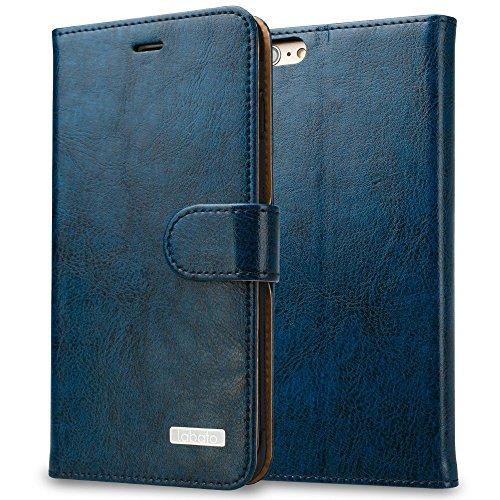Labato iPhone6 iPhone6Sケース 手帳型 本革レザー TPU スタンド カードポケット(ブルー Lbt-IP6-07Z46)
