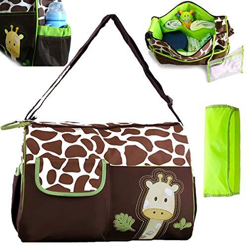 Baby Wickeltasche, Große Kapazität Multifunktions-Umhängetasche Mama Tasche Niedliche Baby Aufbewahrungstasche für Mama und Papa Unisex für Außenbereich Reisen - Grüne Giraffe