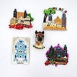 tianluo Imanes de Nevera 5 Piezas Recuerdo De Turismo Mundial Marruecos Imanes De Nevera Decoración del Hogar Pegatinas De Refrigerador Colección De Artesanía De Resina Ideas De Regalo