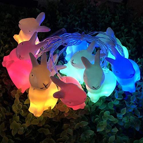 Tixiyu Cadena de luces de conejo de Pascua de 1,5 m, 10 luces LED de Pascua de conejo, guirnalda de luces de hadas de Pascua, funciona con pilas, decoración Pascua para interiores y exteriores