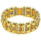 Cupimatch Herren Biker Armband Groß Schwer Breit Edelstahl Gothic Totenkopf Schädel Link Kettenarmband 23cm Armkette Armreif für Männer Gold