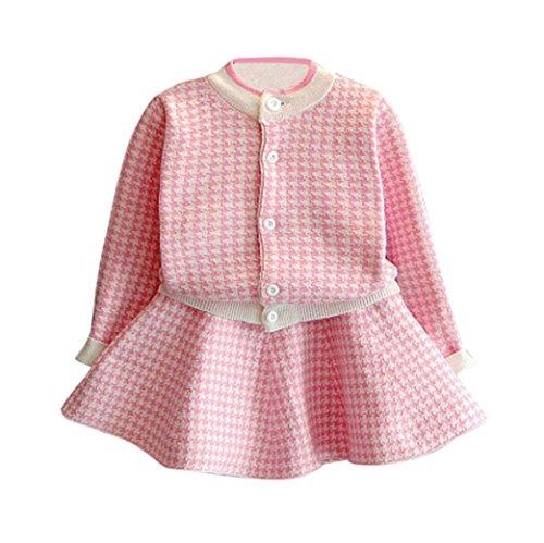OVERDOSE 2pcs Kleinkind Kinder Baby Mädchen Weihnachten Party Kleidung Set Outfit Plaid Kariertes gestrickten Langarm Pullover Mantel Tops + Rock Set(4-5T/110CM,A-Rosa)