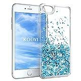 KOUYI Cover iPhone 6S,Cover iPhone 6, 3D Glitter Chiaro Liquido Silicone TPU Telefono Cellulari Protezione Cover,3D Bling Protettiva Case Custodia per Apple iPhone 6S / iPhone 6 (Blu Argento)