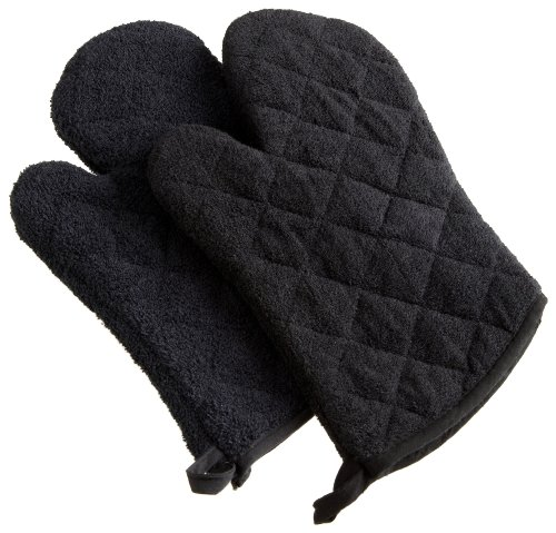 DII Basic Terry Collection 100% Cotton Quilted, Oven Mitt, Black 2 Count