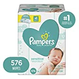 Baby Wipes, Pampers Sensitive Water Based Baby Diaper Wipes, Hypoallergenic and Unscented, 9X Pop-Top Packs, 576 Count Total Wipes (Packaging May Vary)