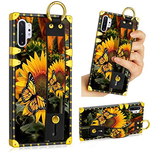 LSL Samsung Galaxy Note 10 Plus 5G Case, Sunflower Butterfly Upgraded Wrist Strap Band Kickstand Square Full Body TPU Bumper Shockproof Protective Phone Case for Galaxy Note 10 Plus 2019