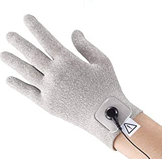 iStim Conductive Glove Package (Including Electrode Pads) for electrotherapy, Massage - Compatible with TENS/EMS Machine Units - Silver Thread (M)