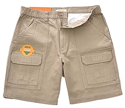 Savane Men's UPF 30 Comfort Hiking Cargo Shorts w/Tech Pocket (Khaki, 36)