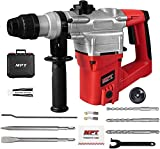 MPT 1 Inch SDS-plus 8.5 Amp Heavy Duty Rotary Hammer Drill,3 Function and Variable Speed,Include 3 Drill Bits,Point and Flat Chisel with Case