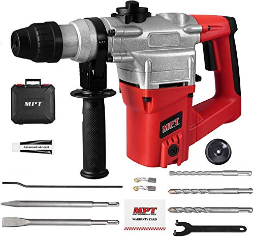 MPT 1 Inch SDS-plus 8.5 Amp Heavy Duty Rotary Hammer Drill,3 Functions, Include 3 Drill Bits, Grease, Chisel with Case