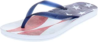 Womens Thong Flag Flip-Flops, Navy Americana, Size 7.0