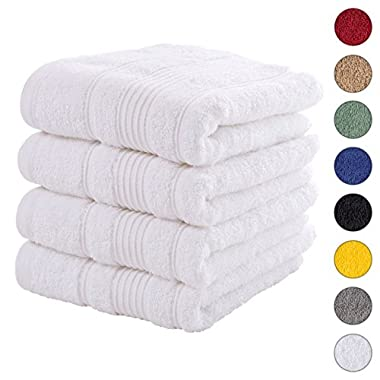 4 PACK Hand Towels Set | Premium Quality Luxury Turkish Cotton Absorbent AND Super Soft - WHITE