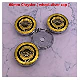 Meet's shop Tapas para Llantas 4 unids 56mm 60mm Chrysler Logo Coche Emblema Rueda Centro Hub Cap Rim Refit Bandeja Cubiertas Decoración Creativa Pegatina Accesorios Insignia del Emblema
