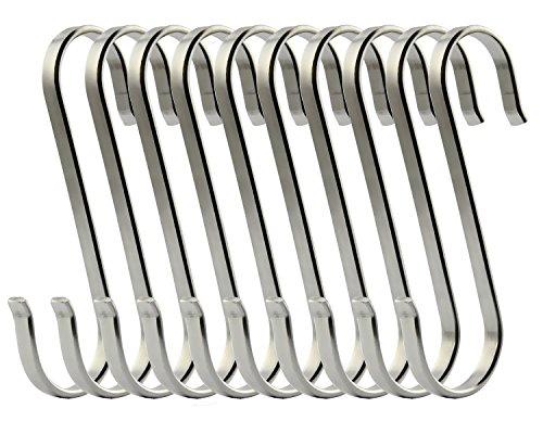 MINGZE 10 Piezas Grande Metal S En Forma De Gancho, Acero Inoxidable 304 usos Múltiples Colgantes Ganchos De Suspensión para Cocina Utensilios De Organización Armarios ect (L)