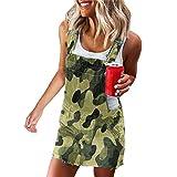 Shujin Vestido de verano para mujer, con peto y falda vaquera, minifalda ajustable, con tirantes, mono, informal, con bolsillos A camuflaje. XXL
