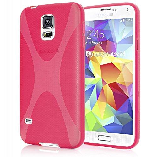NALIA Custodia compatibile con Samsung Galaxy S5 Mini, Protezione Ultra-Slim Case Resistente Protettiva Cellulare in Silicone, Gomma Morbido Bumper Copertura Cover Sottile- X-Line Pink Rosa
