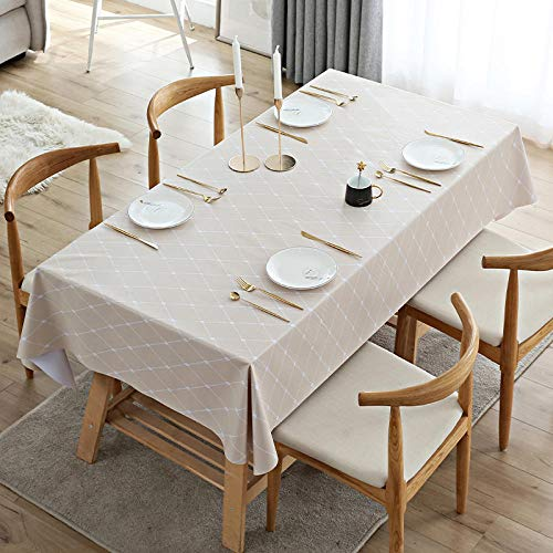 Yinaa Manteles Mesa Antimanchas Impermeable Color Brillante Anti Escaldado Nórdico Moderno para Cocina Comedor Beige 140×220cm