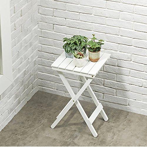 JJJJD Table Pliante paresseuse Table Basse Table d'extérieur Salon Balcon Jardinière en Bois Massif (Couleur : Couleur du Bois)