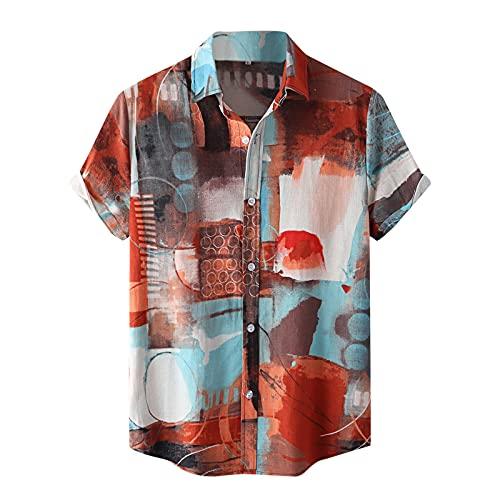 Floral Shirts for Men Short Sleeve Hawaiian Shirt Summer Button Down T Shirt Summer Casual Regular Fit Beach Tops