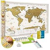 🏆 MEJOR VALOR. Es un hermoso Mapamundi Rascar con contenido detallado, diseño dorado impresionante, mapas de Europa y Caribe ampliados y tamaño XL 88 x 62 cm, que superará tus expectativas! Uno de los mapas más pensados para tus aventuras de viaje. M...
